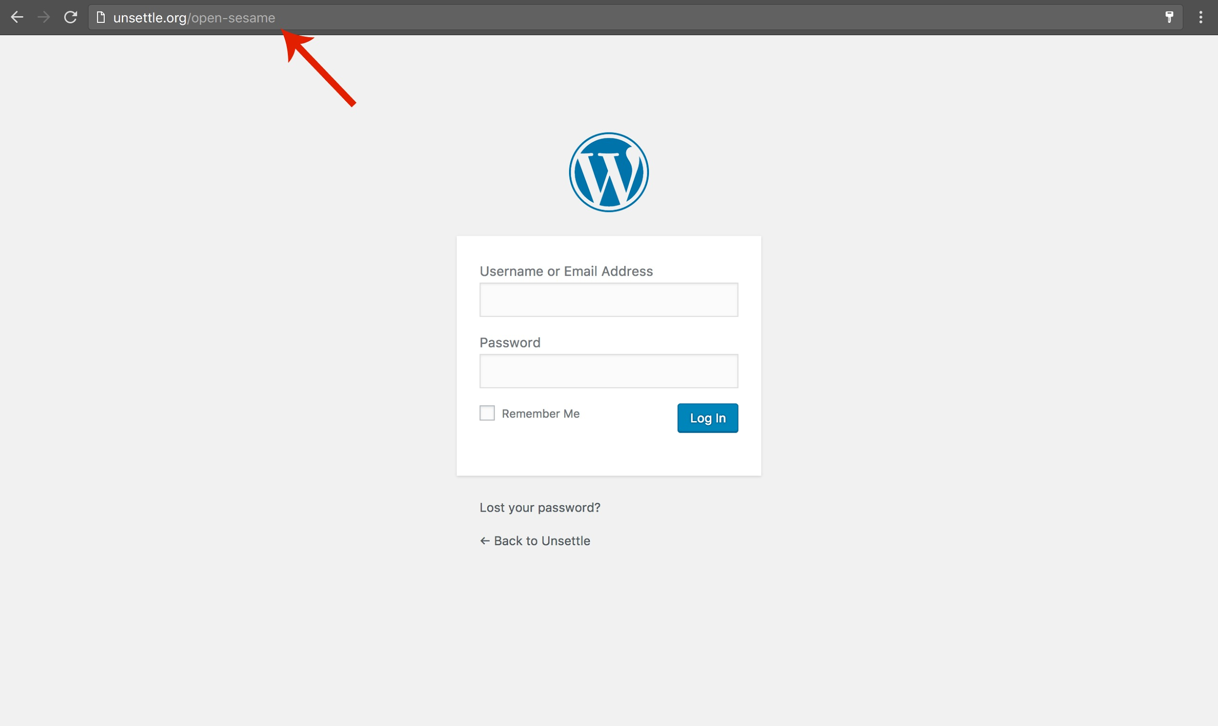 Screenshot of a custom URL for wordpress login