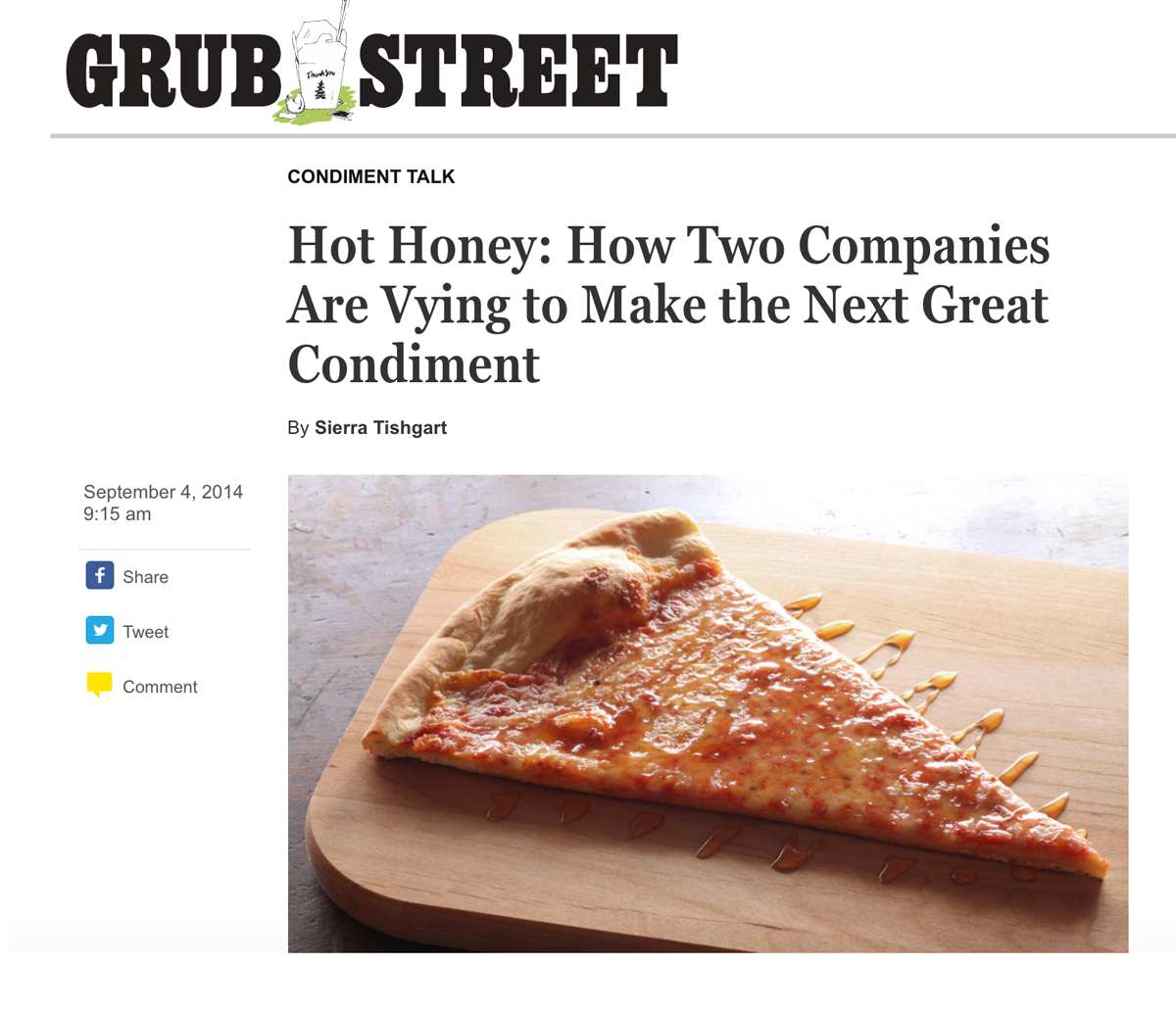 Screenshot showing content page by GrubStreet