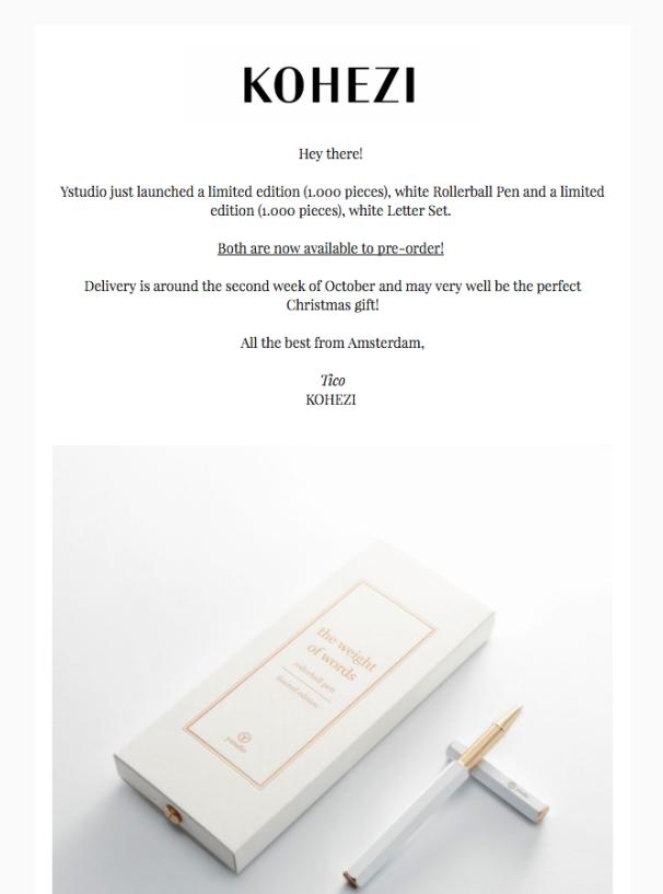 Screenshot of Kohezi email