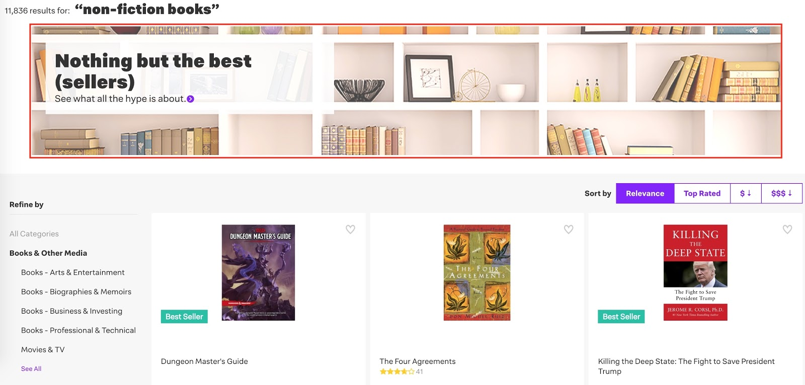 Screenshot showing products on an online book store