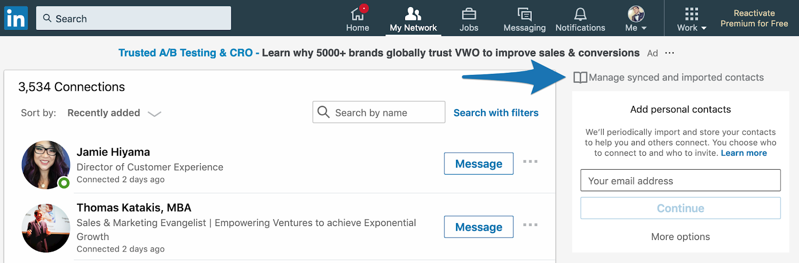 Screenshot showing LinkedIn contact dashbaord
