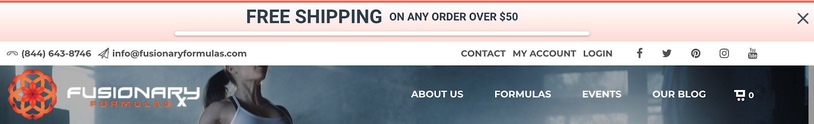Screenshot showing Sumo free shipping bar