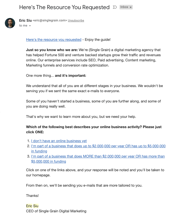 Screenshot of a well-written welcome email from Eric Siu (CEO of Single Grain)