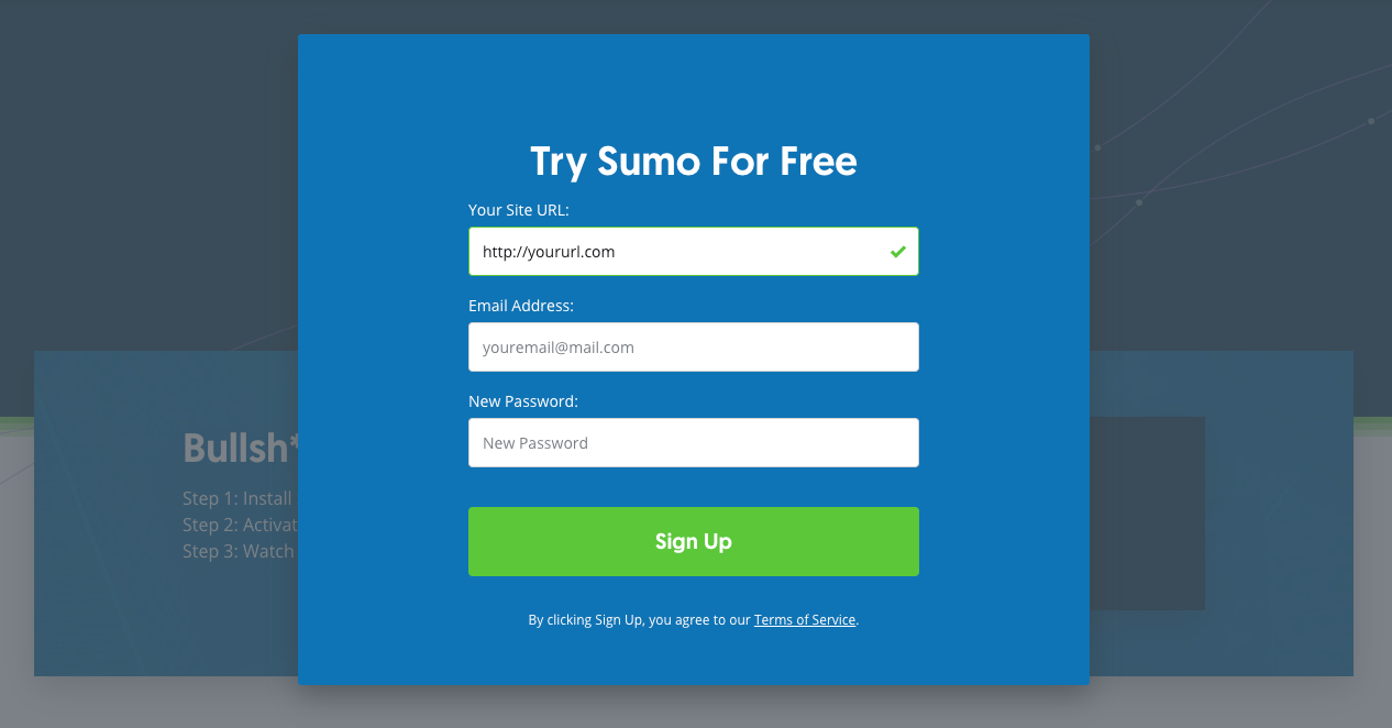 Squeeze Page: Screenshot of Sumo