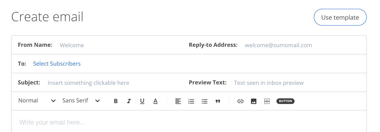 Screenshot of setting preview text for email using Sumo