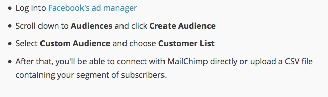 Screenshot showing how to export facebook audience to amilchimp