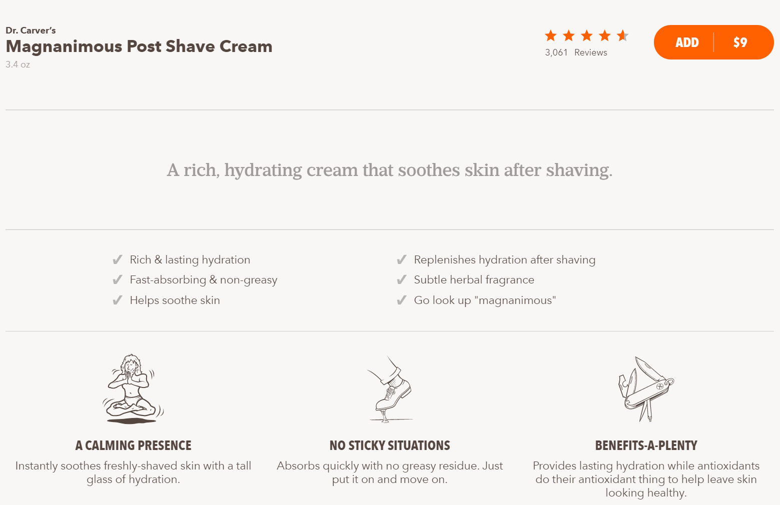 product page by Dollar Shave Club