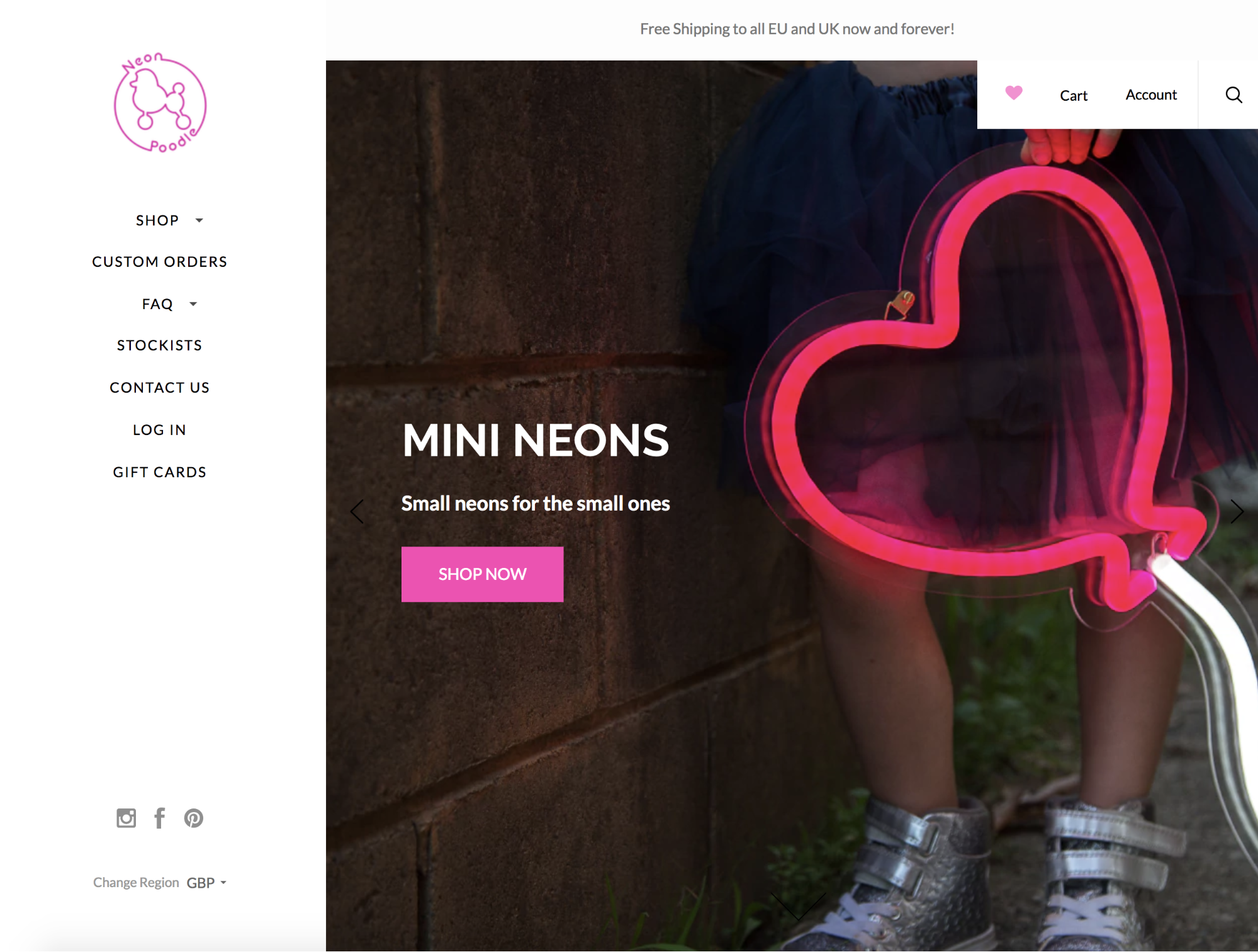 Screenshot showing a landing page on a store that sells neons