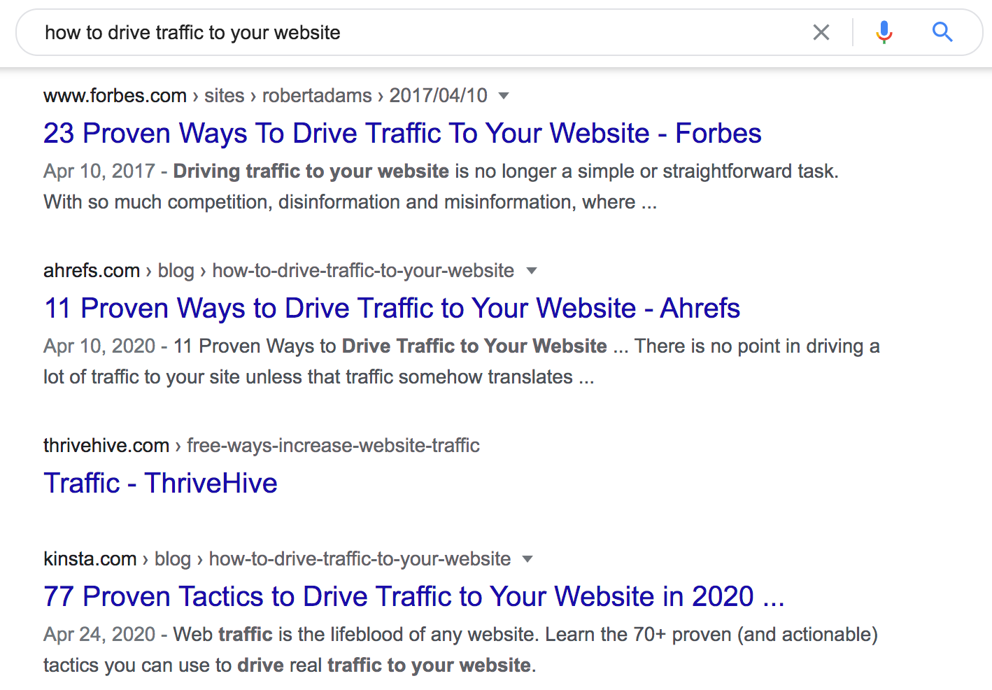 """how to drive traffic to your website"" top-ranking pages"