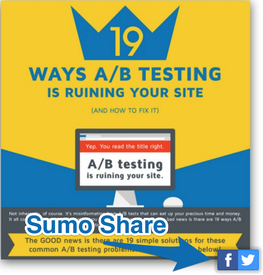 Screenshot showing a banner and Sumo share buttons on the bottom right