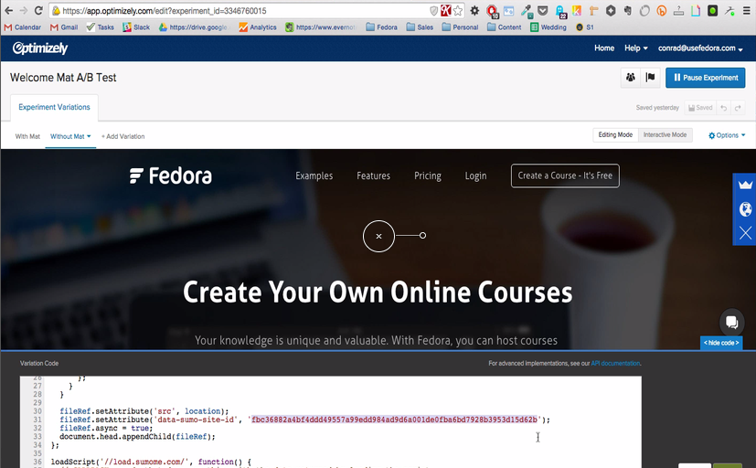 Screenshot showing a welcome mat test for Fedora
