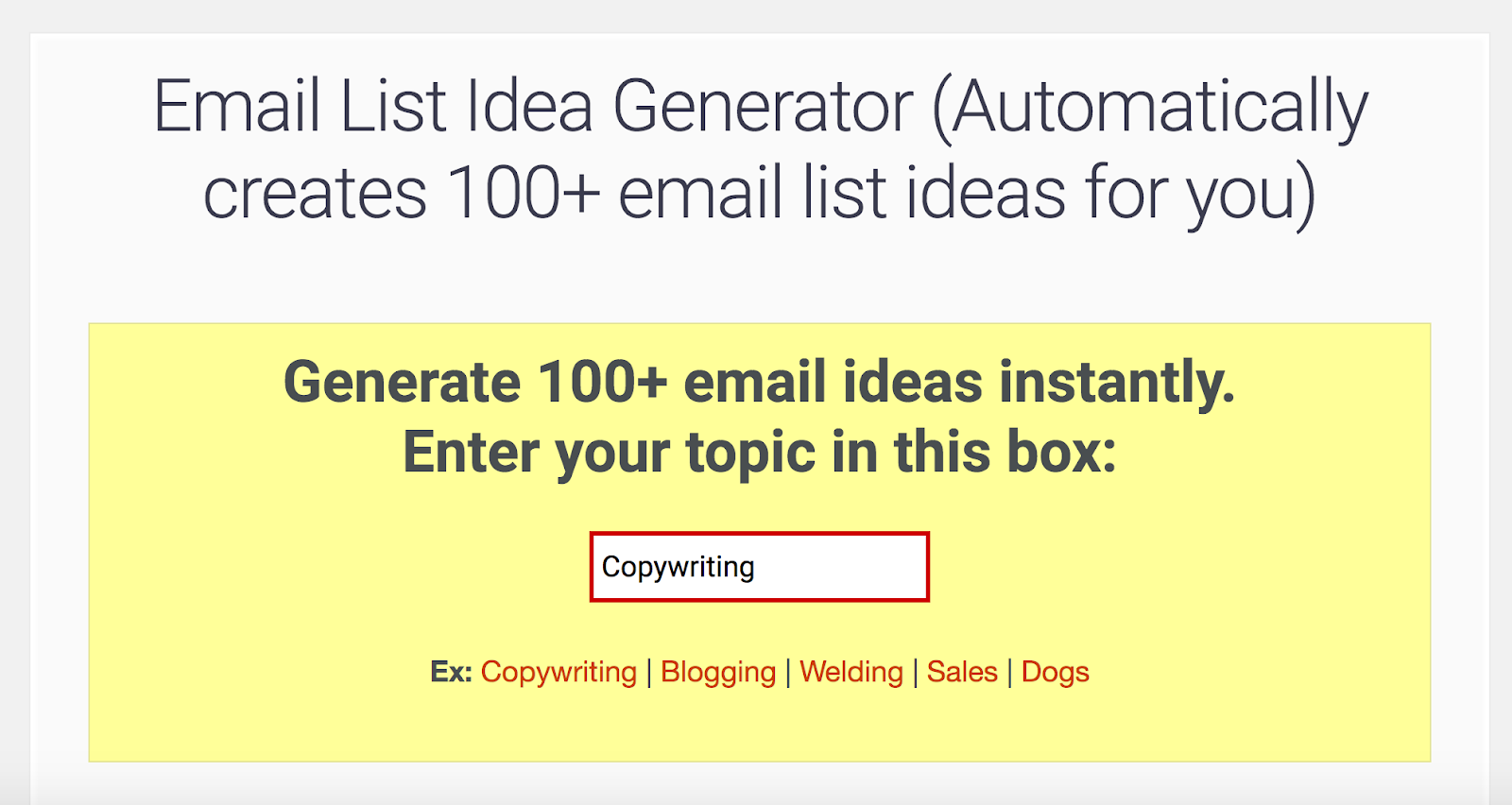 EXAMPLE #2: EMAIL LIST GENERATOR BY KOPYWRITING KOURSE