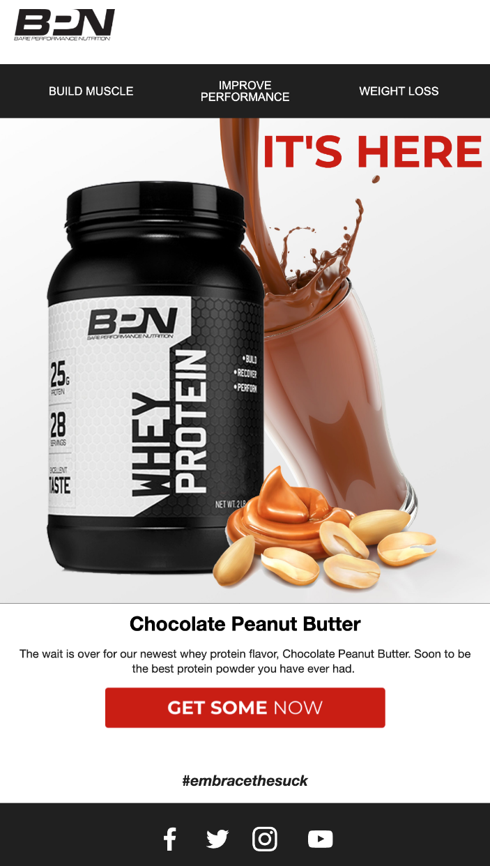 Screenshot of BPN Product Launch Email