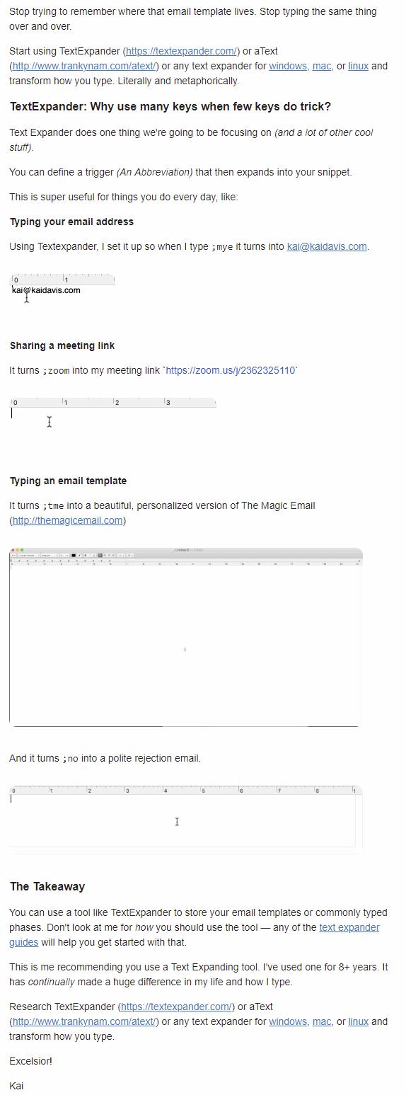 Screenshot of mini blog post emails