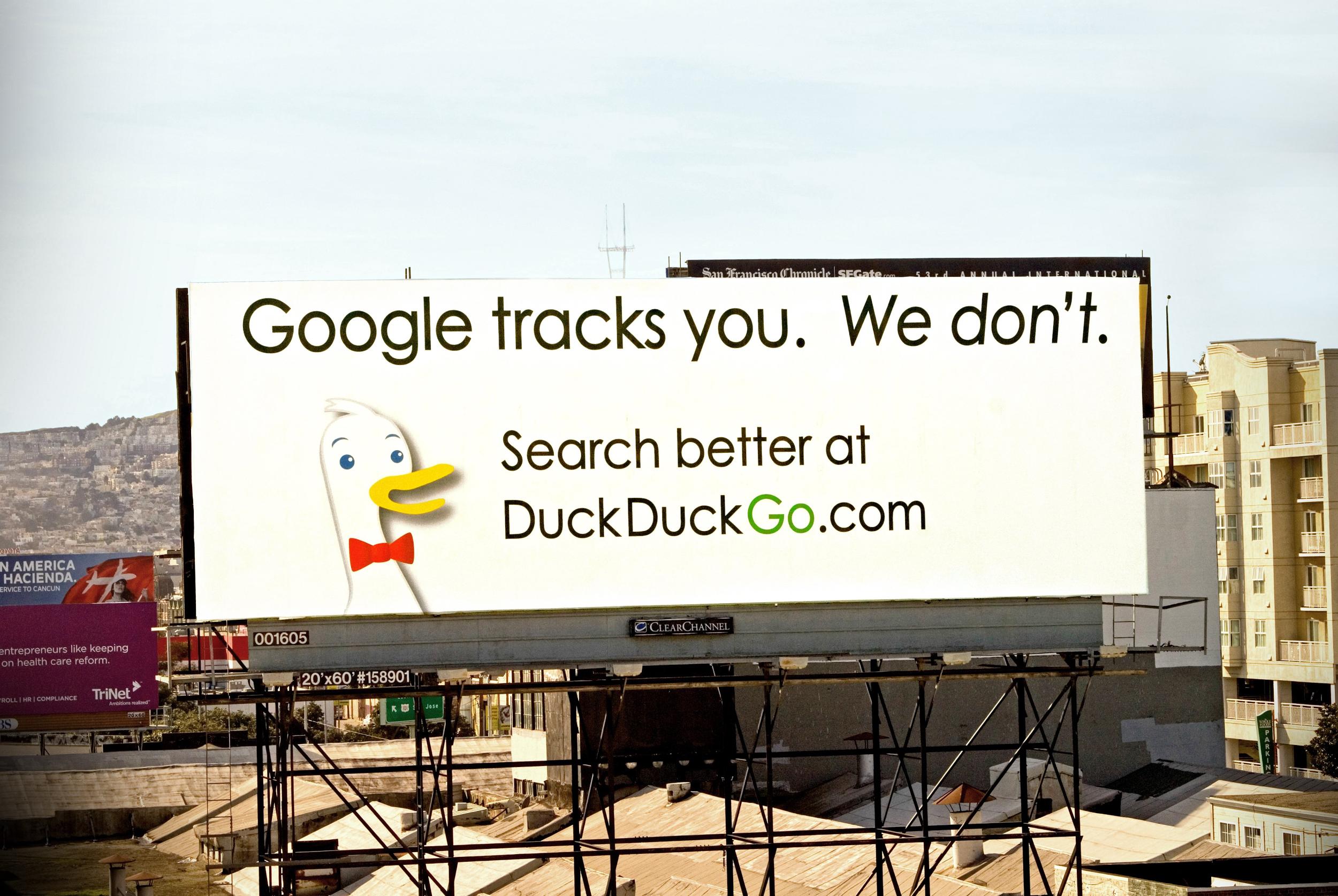 Screenshot showing a billboard for duckduckgo.com