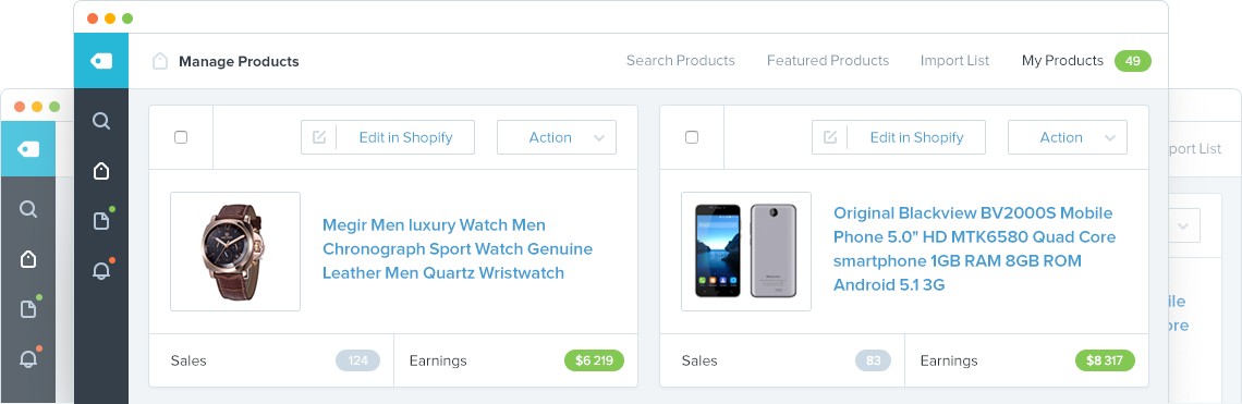 Screenshot showing a dashboard where you can manage different products