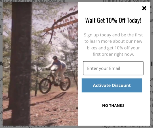 Screenshot of exit popup from M2S Bikes