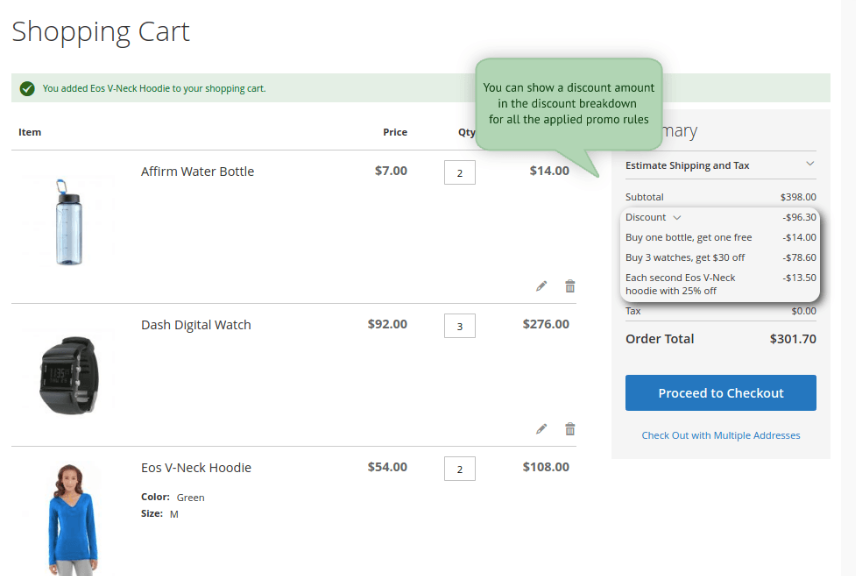 Screenshot showing a shopping cart