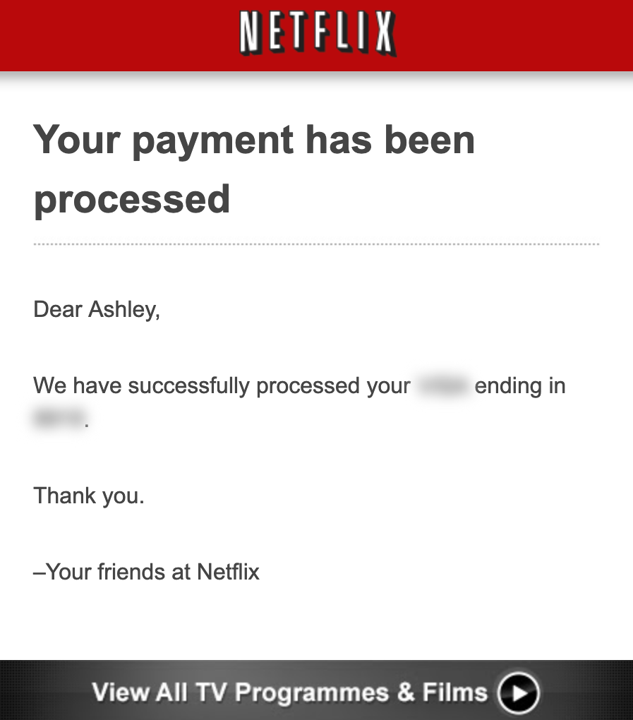Screenshot of email from Netflix