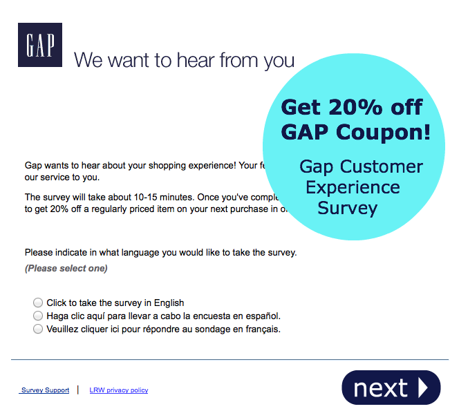 Screenhot showing an email sent by Gap