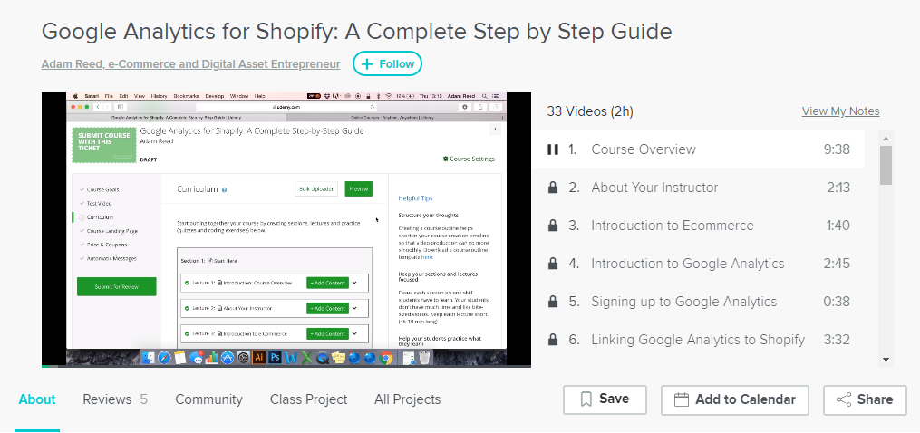 Screenshot showing an online course