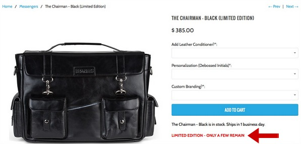 Screenshot of scarcity marketing in action on an ecommerce site that sells bags