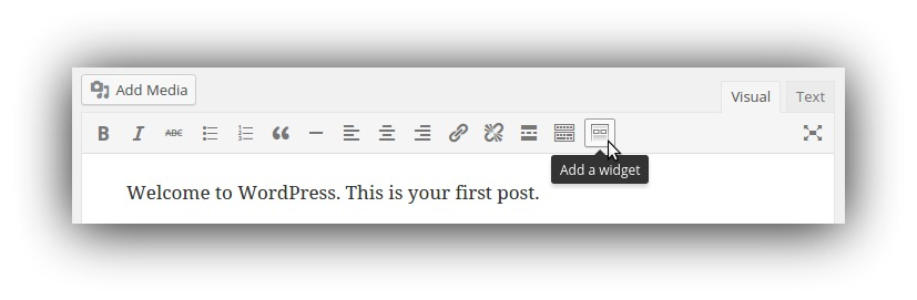 "Screenshot of ""add a widget"" on the wordpress post editor"