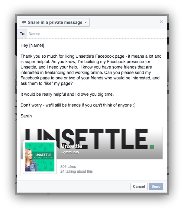 Screenshot of someone doing free facebook marketing