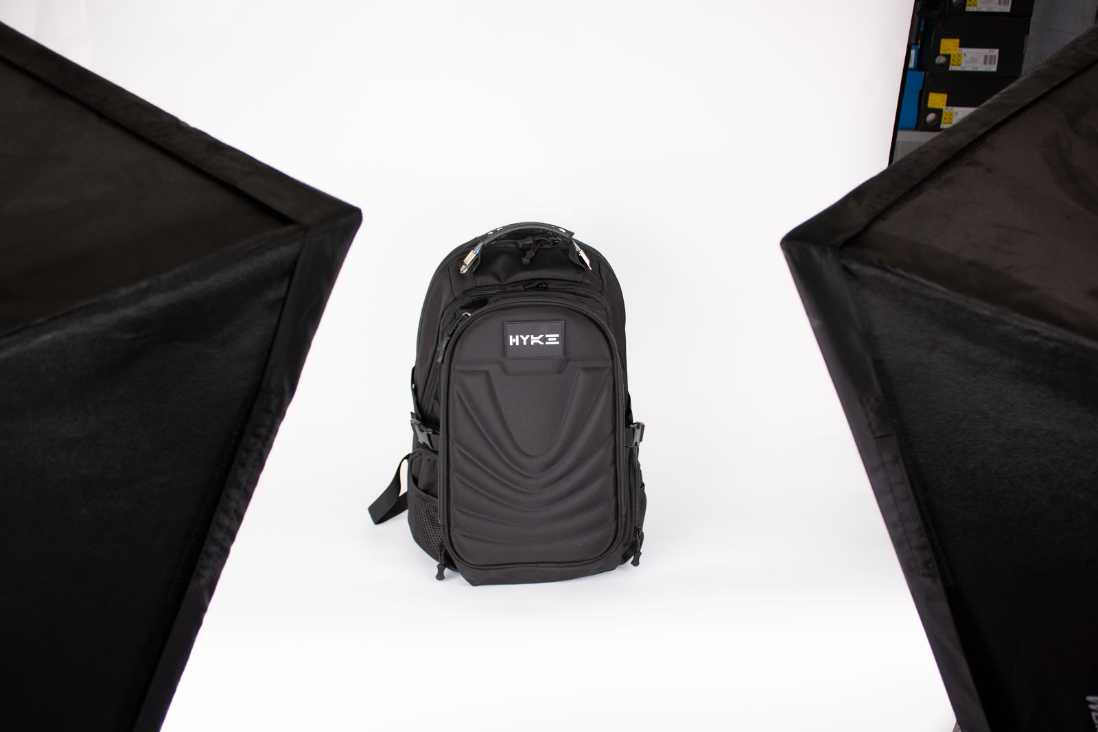 Picture showing a backpack posing for the cameras