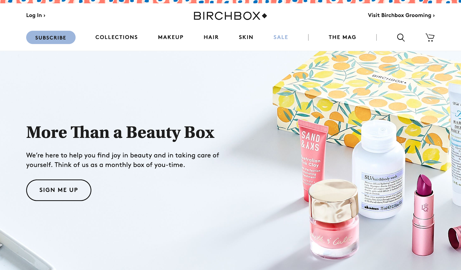 Screenshot of Birchbox website