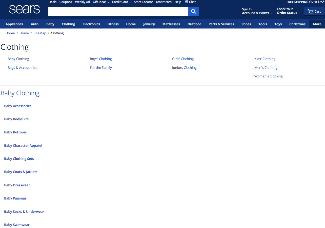 Screenshot showing a page on sears.com