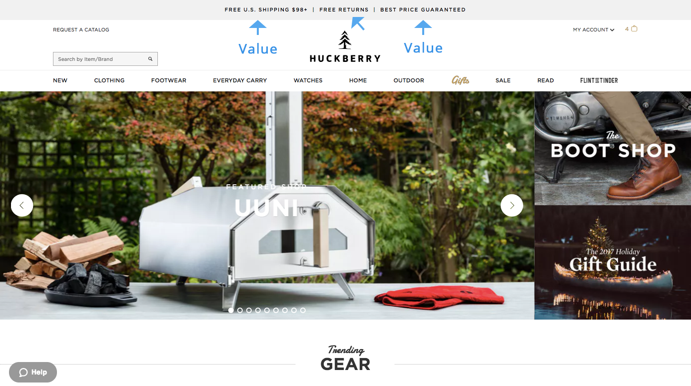 Screenshot showing a page on Huckberry