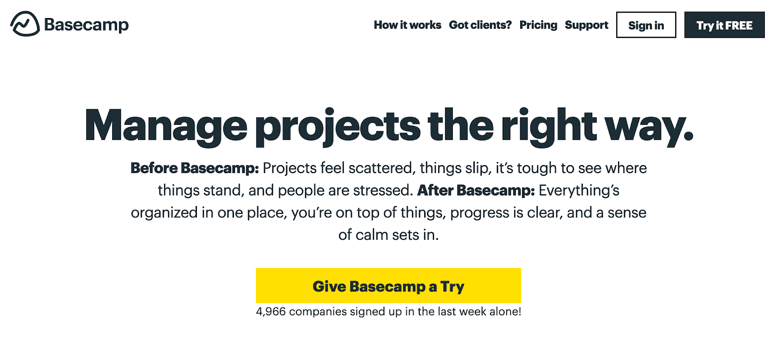Screenshot of Basecamp website using CTAs