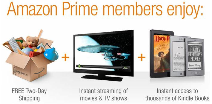Screenshot showing benefits of amazon prime