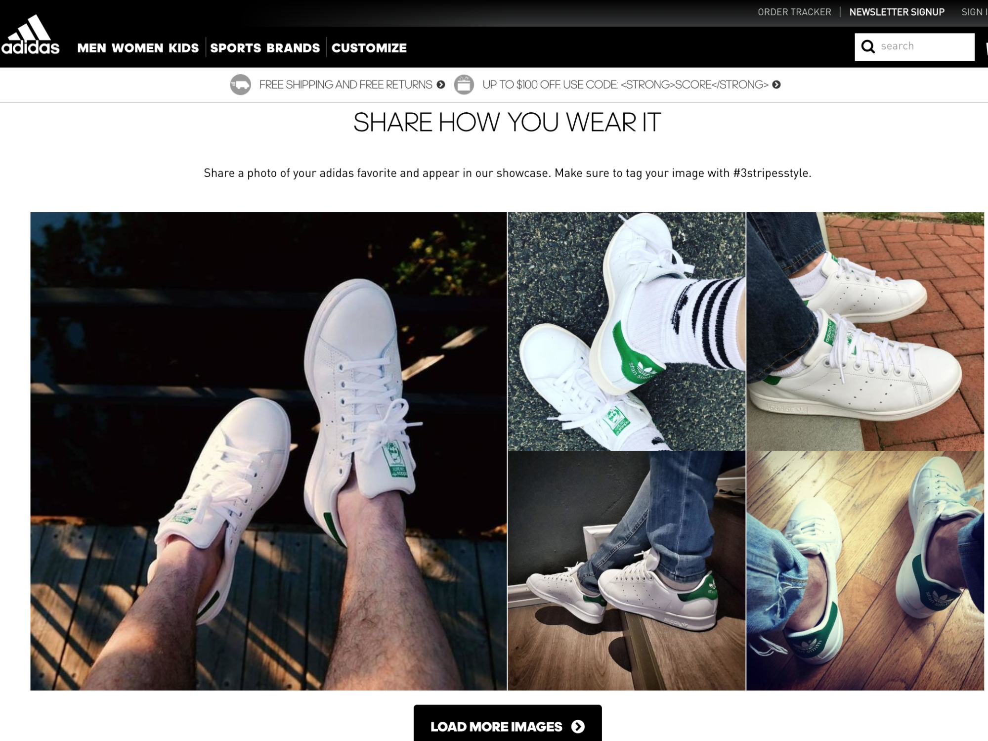 Screenshot showing a page on adidas.com