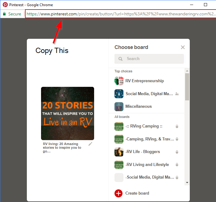 Screenshot showing a pinterest URL