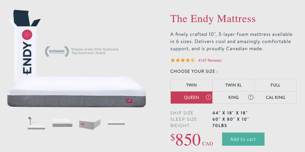 Screenshot showing a product page for a mattress