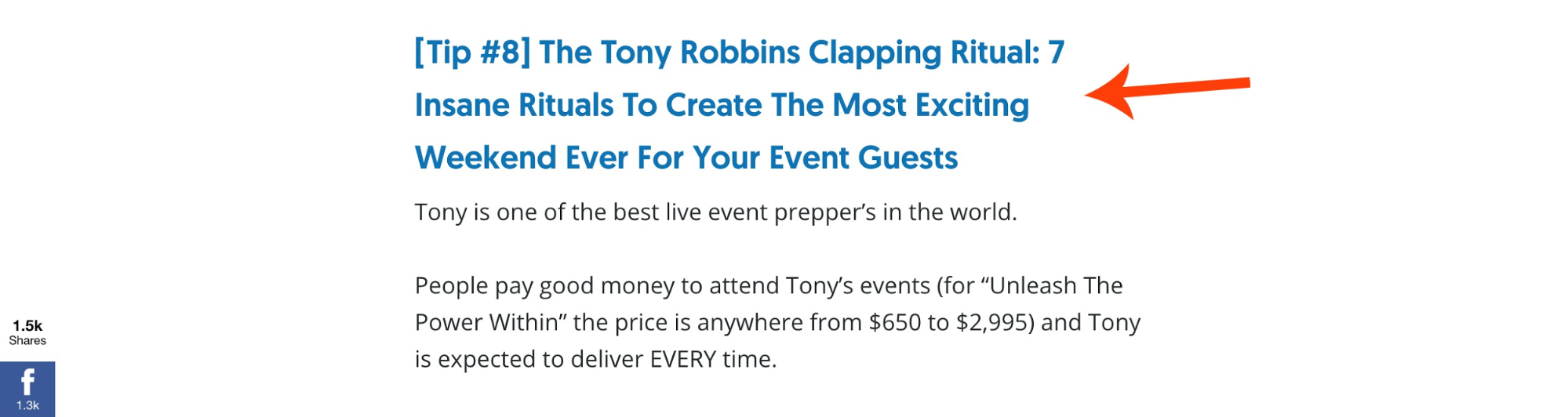 Screenshot of the title of a content piece about Tony Robbins