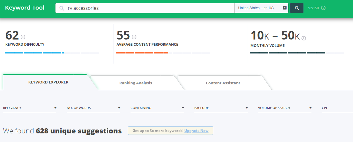 Screenshot showing CognitiveSEO dashboard