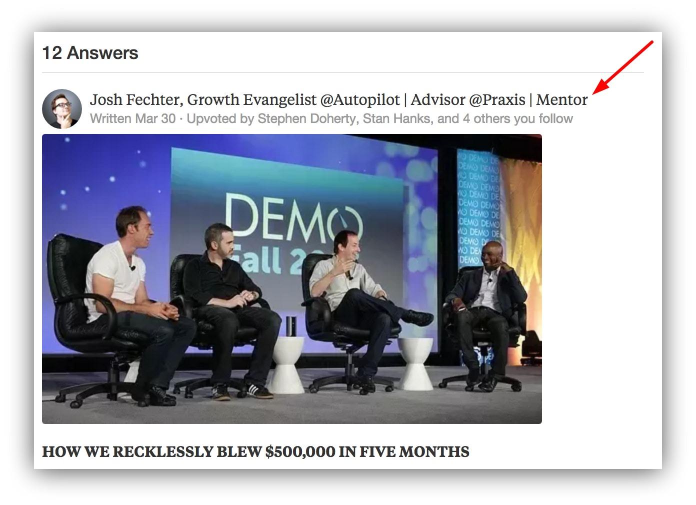 Screenshot showing Josh Fechter