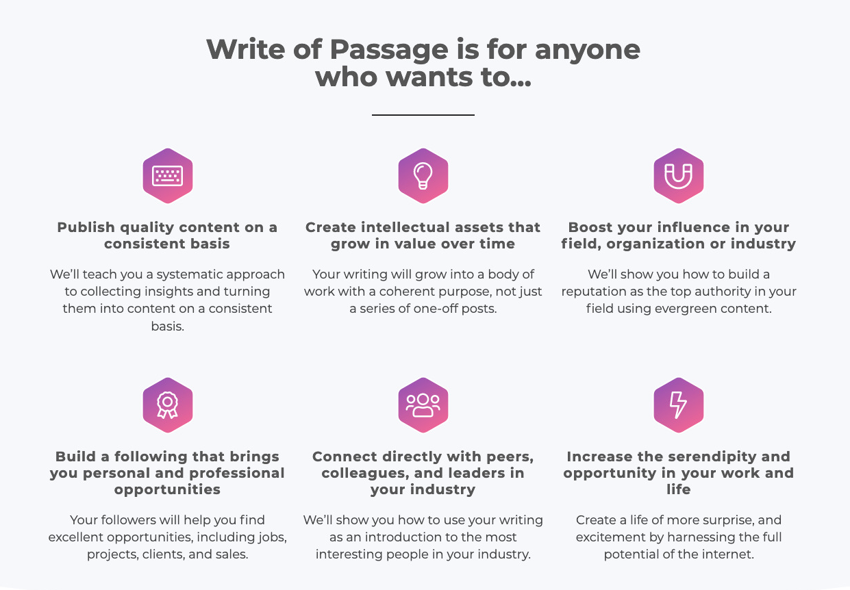 Write of Passage - supporting copy