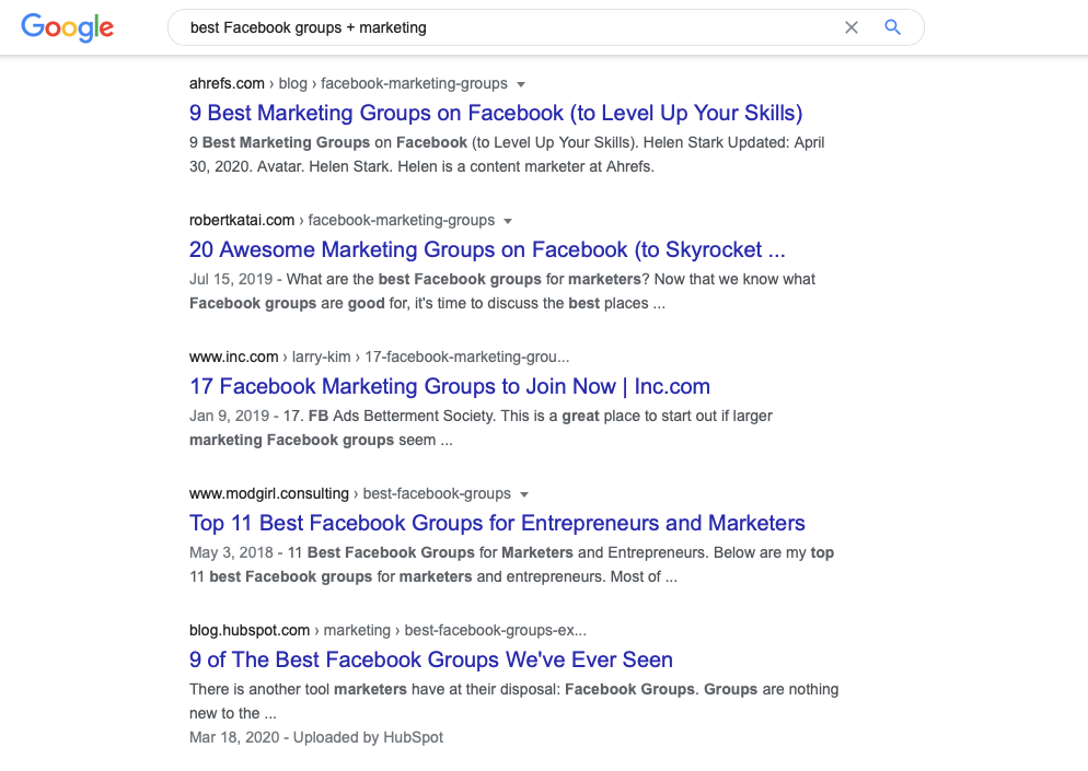 Google search for best facebook group + marketing
