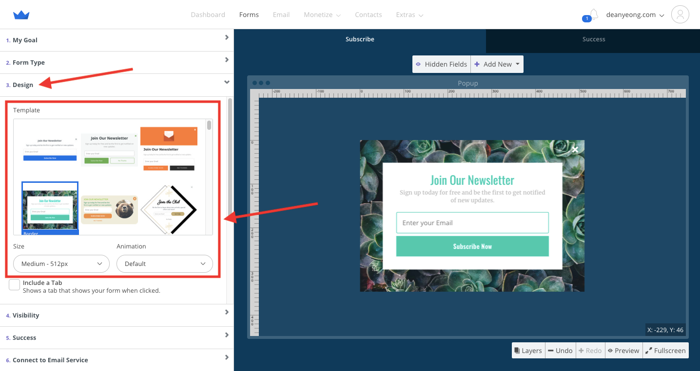 Screenshot of steps to select design from high-converting popup templates in Sumo