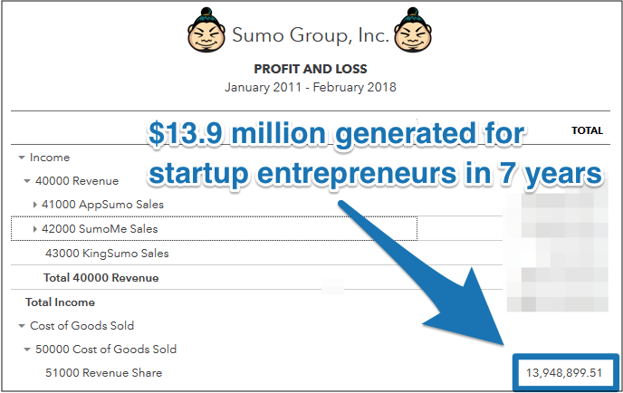 Screenshot showing the revenue generated by Appsumo in 7 years