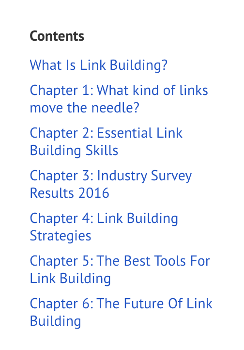 Content of what is Link Building and spans 6 chapters