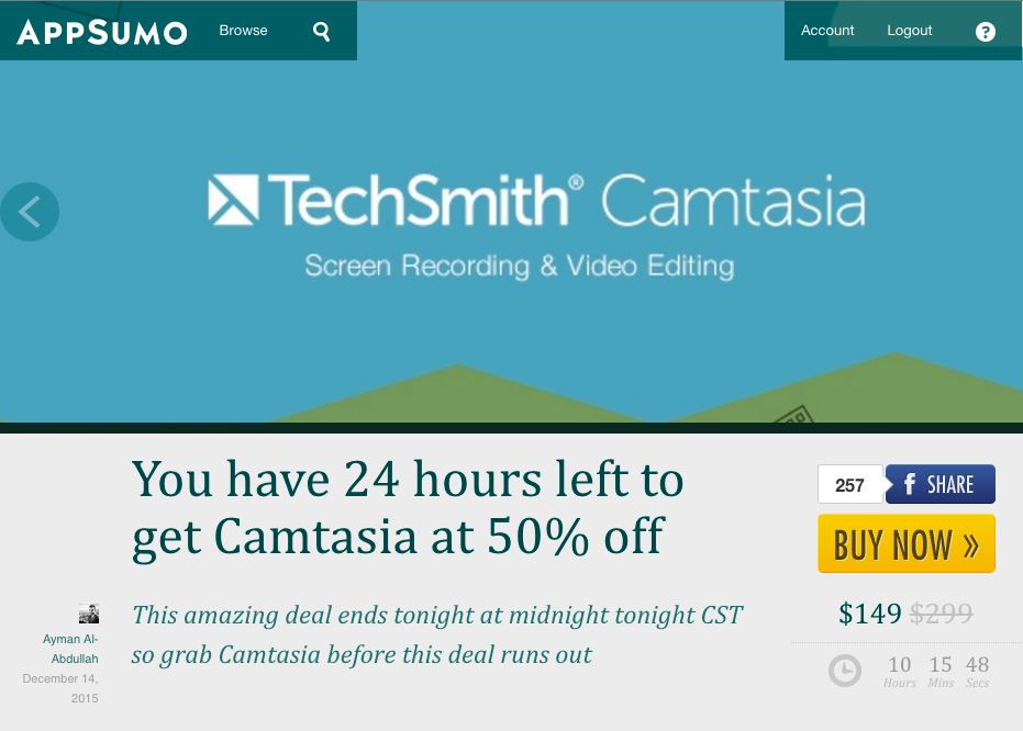 Screenshot of an appsumo deal featuring Camtasia