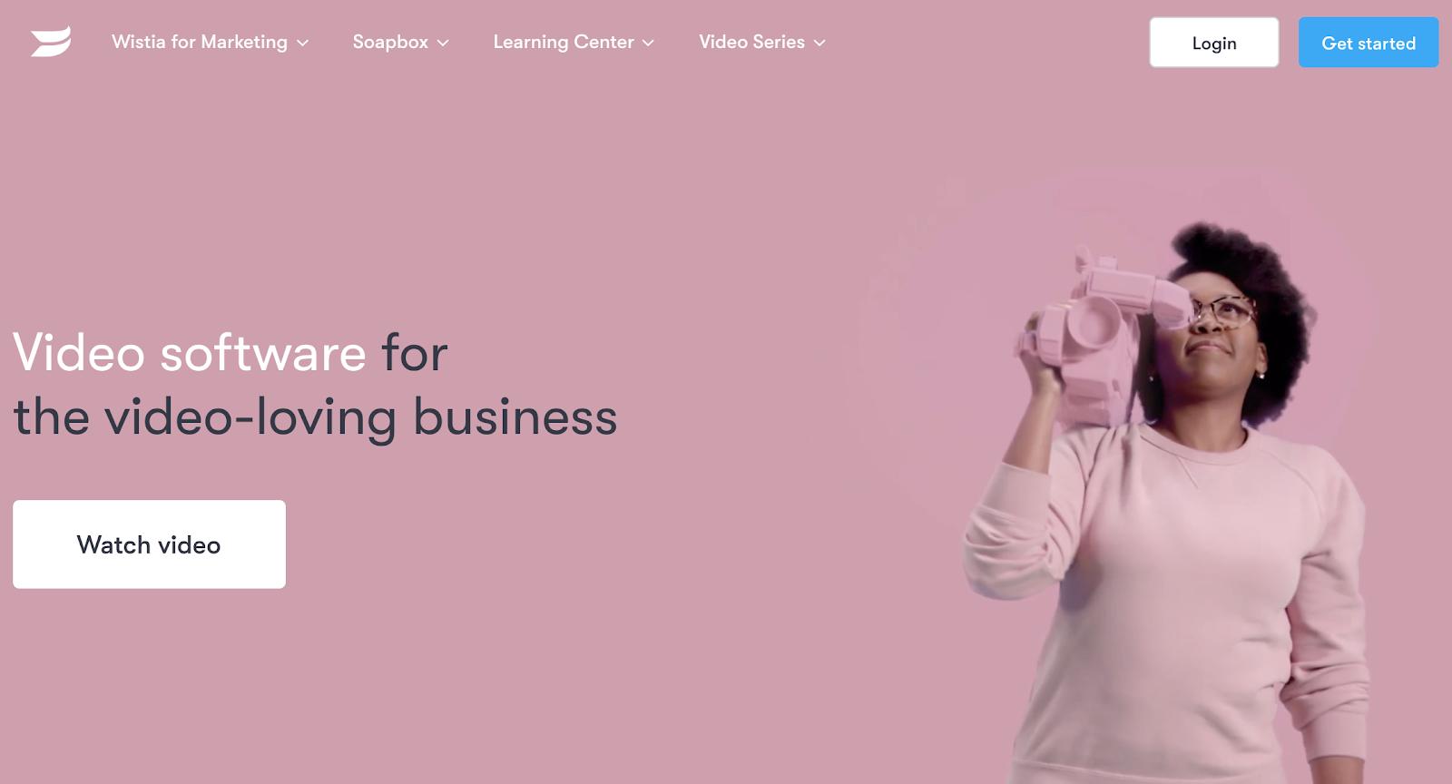 Screenshot of Wistia website