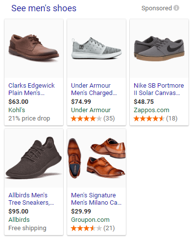 Screenshot showing products on a Google search