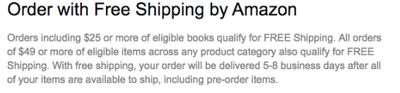 Screenshot showing free shipping information on amazon