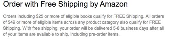 Screenshot showing free shipping information on amazon